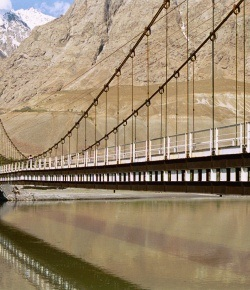 This bridge was built by the Aga Khan Development Network over the river Tem, joining Afghanistan and Tajikistan